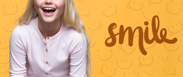 Smile cute young girl with blonde hair Free Psd