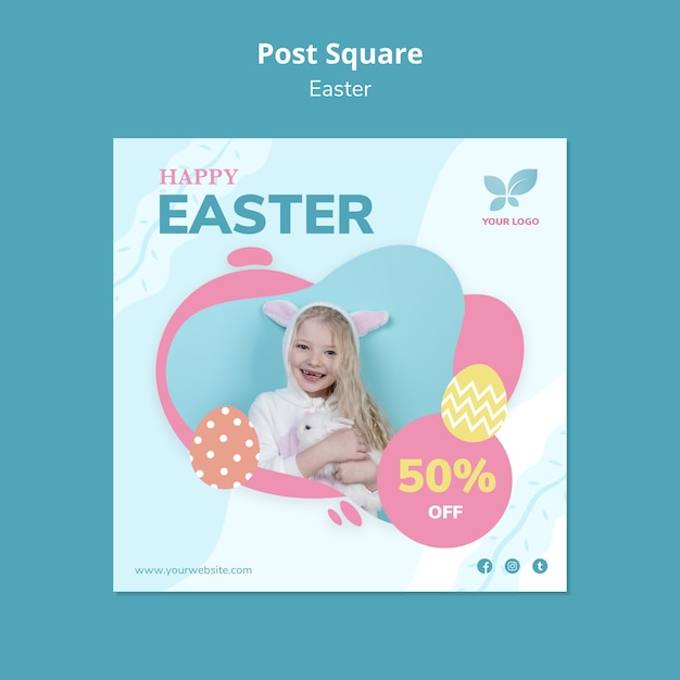Smiley girl holding a rabbit post square template Free Psd