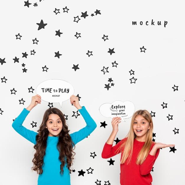Smiley girls exploring imagination Free Psd
