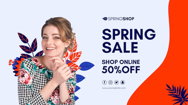 Smiley woman spring sale banner Free Psd