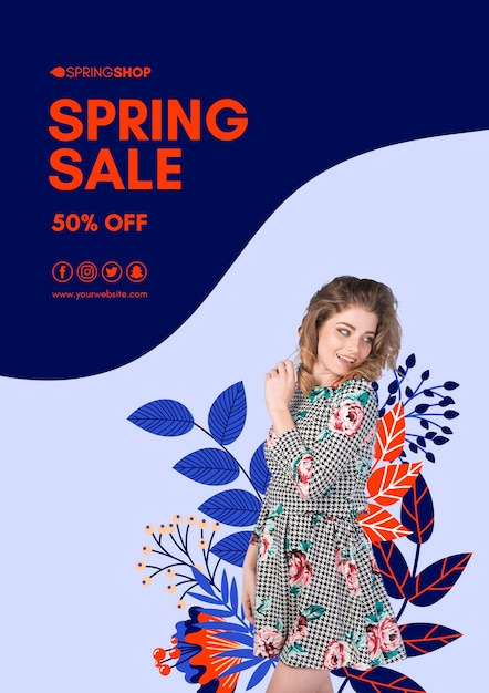 Smiley woman spring sale flyer Free Psd