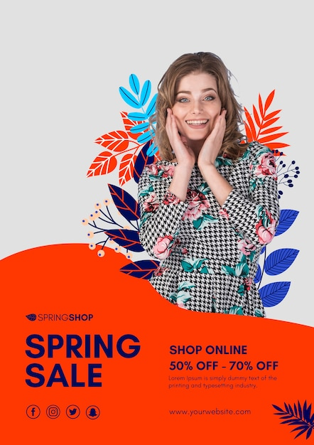 Smiley woman spring sale poster Free Psd