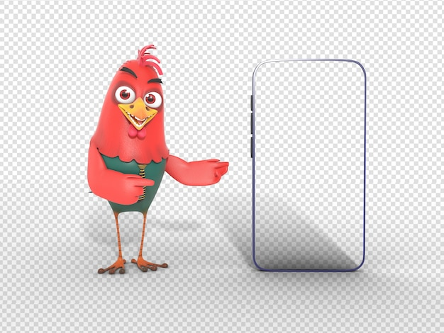 Smiling 3d character illustration pointing mobile for advertisement Premium Psd