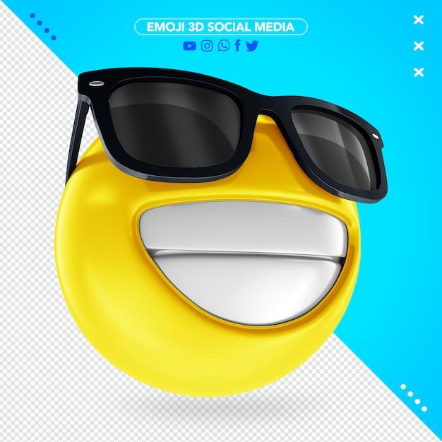 黒いメガネで笑顔の3 d絵文字 Premium Psd