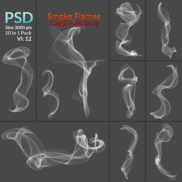 Smoke collection isolated transparent background Premium Psd