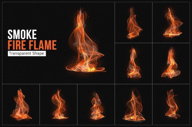 Smoke fire flame transparent shape set Premium Psd