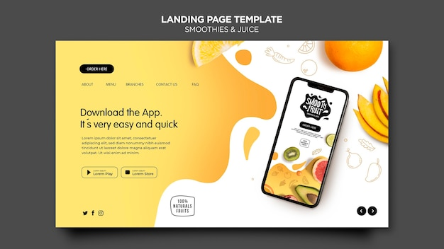 Smoothie bar landing page template Free Psd