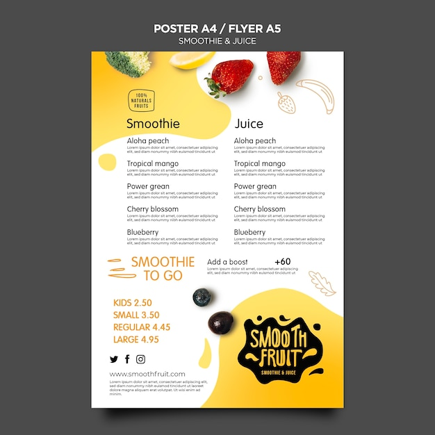 Smoothie bar poster template Free Psd