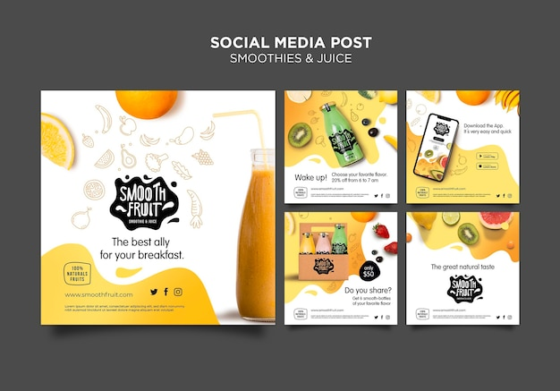 Smoothie bar social media post template Free Psd