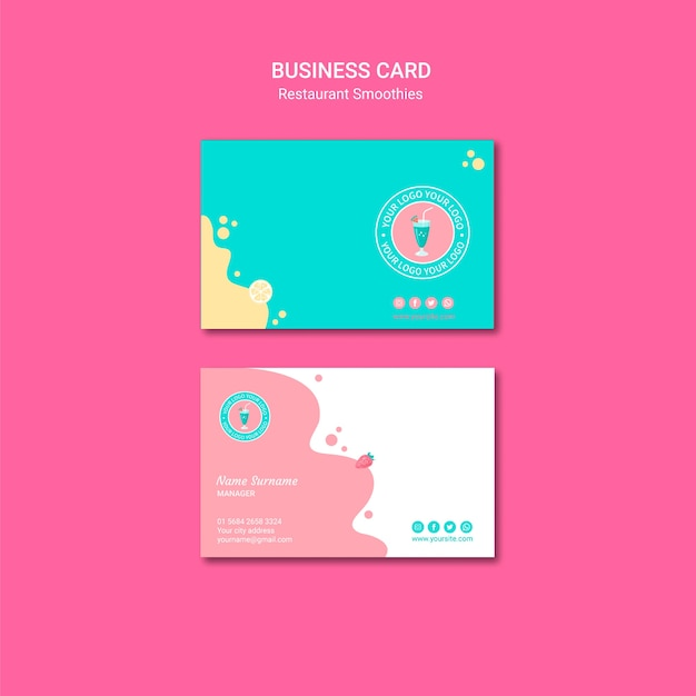 Smoothie restaurant business card template Free Psd