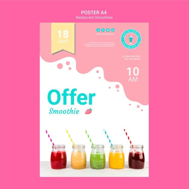 Smoothie restaurant flyer template Free Psd