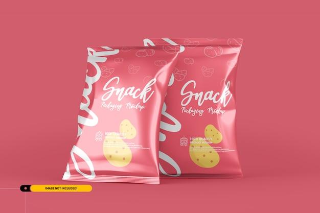 Snack chips foil pack packaging mockup Premium Psd
