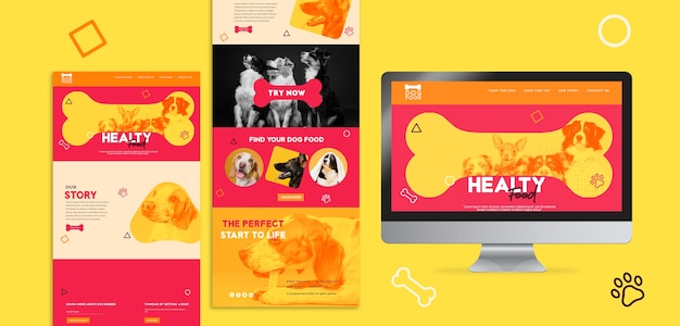 Snack dog food landing page template Free Psd