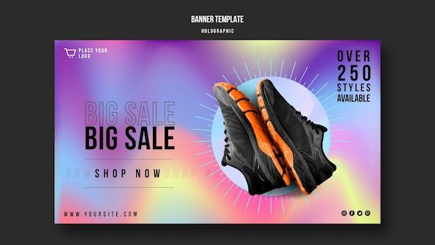 Sneakers sale banner template Free Psd