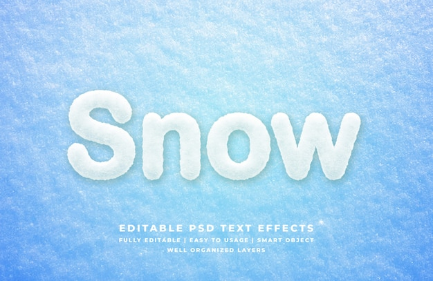 Snow 3d text style effect mockup Premium Psd