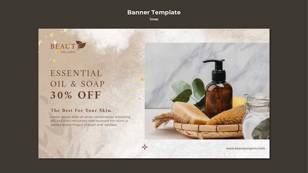 Soap banner template with photo Free Psd