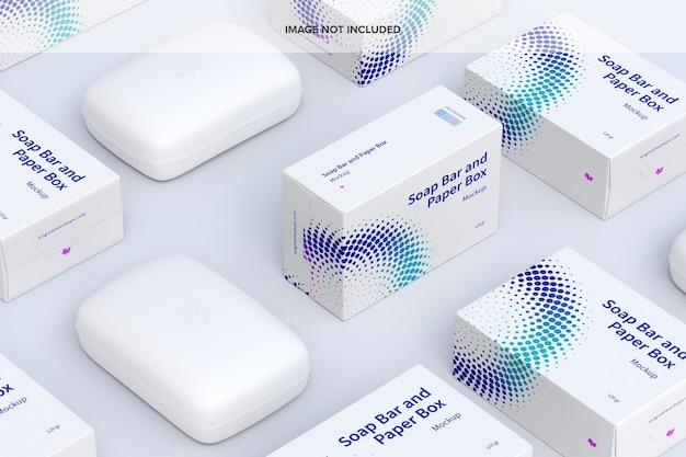 Мокап набора мыльниц и бумажных коробок Premium Psd