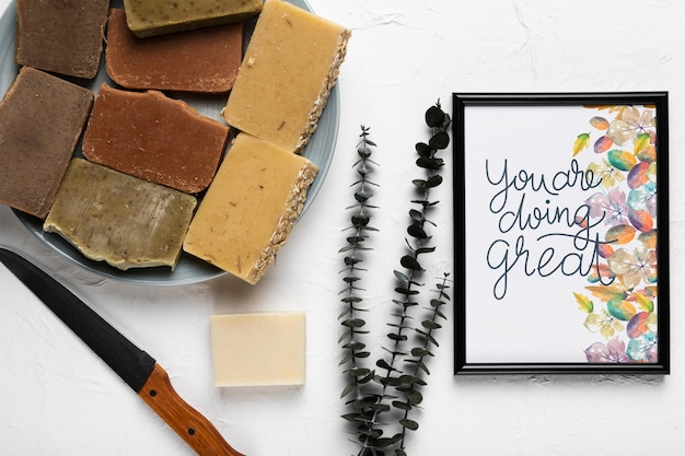 Soap bars with frame mock-up Free Psd