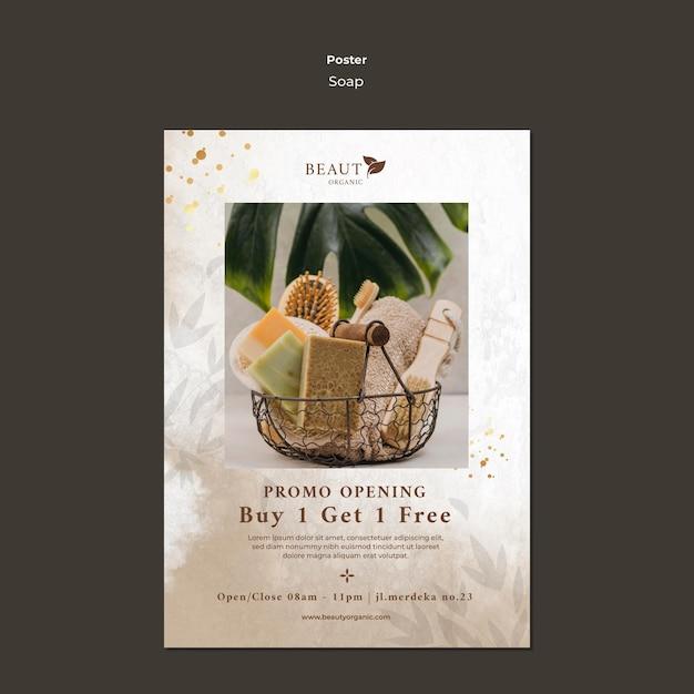 Modello di poster di sapone con foto Psd Gratuite