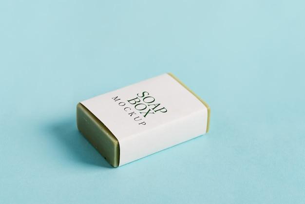 Мыльная упаковка box пакет с макетом и оливковым мылом Premium Psd