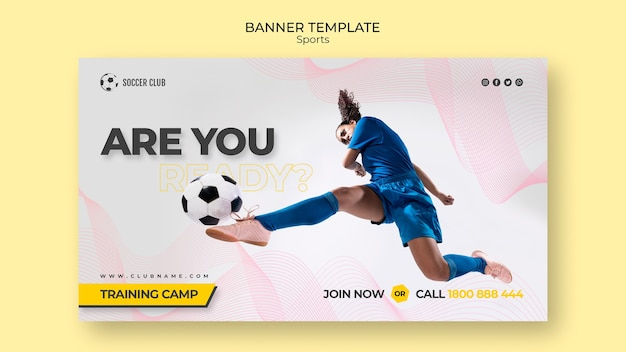 Soccer club training camp banner template Free Psd