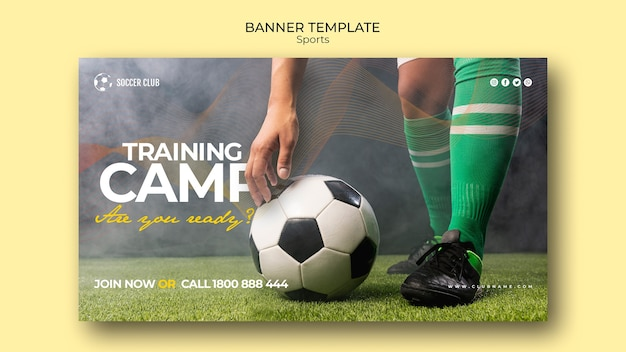 Шаблон баннера тренировочного лагеря футбольного клуба Бесплатные Psd