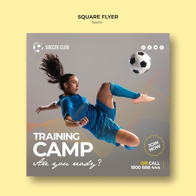 Soccer club training camp square flyer Free Psd