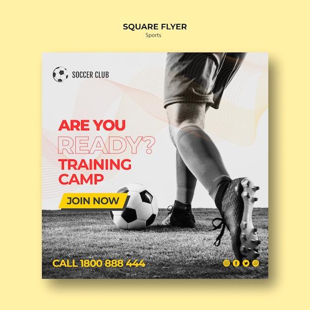 Soccer club training camp square flyer Premium Psd