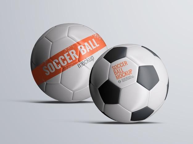 Soccer football balls mockup isolated Premium Psd