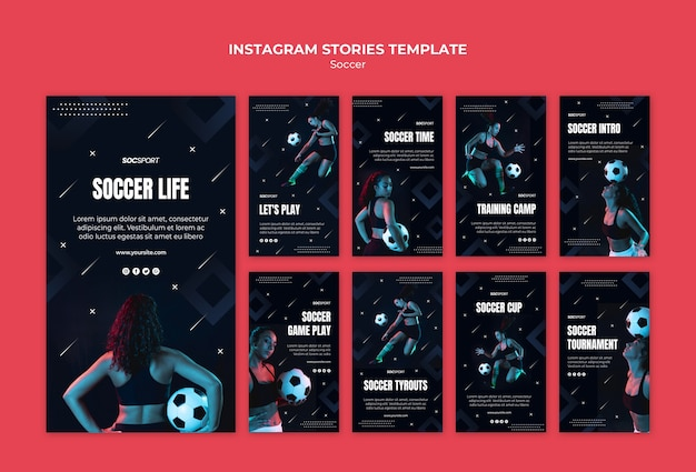 Soccer instagram stories template Free Psd