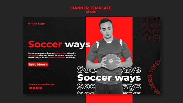 Soccer player banner template Free Psd
