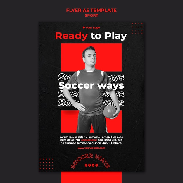Soccer player flyer template Free Psd