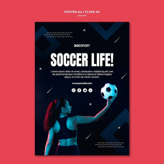 Soccer poster template Free Psd