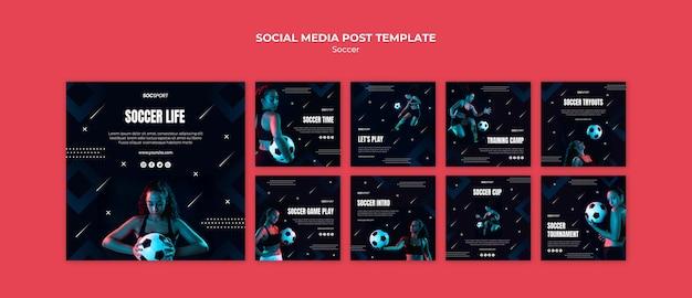 Soccer social media post template Free Psd