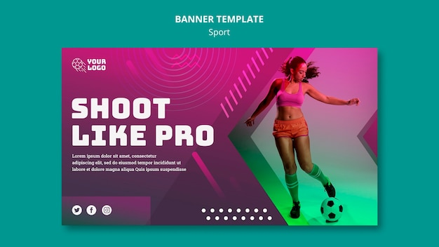 Soccer training ad banner template Free Psd