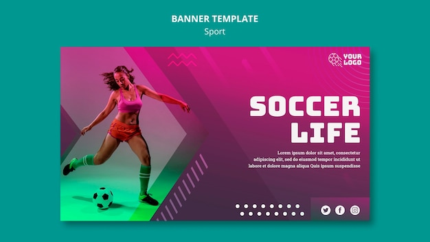 Soccer training banner template Free Psd