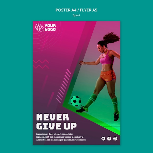 Soccer training flyer template Free Psd