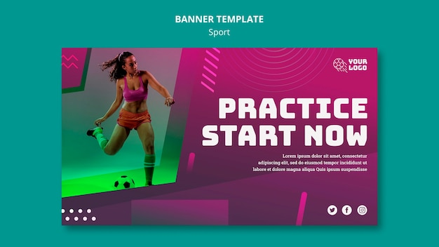 Soccer training template banner Free Psd