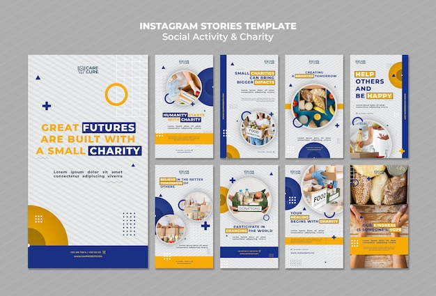 Social activity and charity instagram stories Free Psd