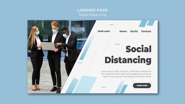 社会的距離のランディングページ 無料 Psd