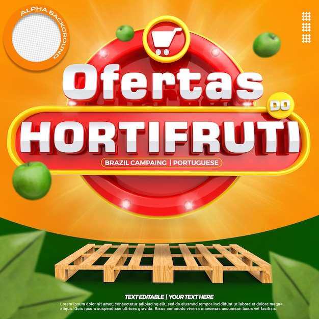 Social media 3d label super offers composition for supermarket campaign of brazil