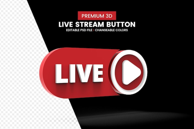 Social media 3d live streaming button isolated Premium Psd