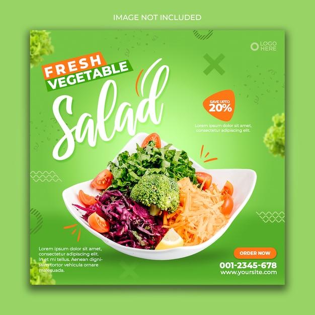 Social media banner post food green salad Premium Psd