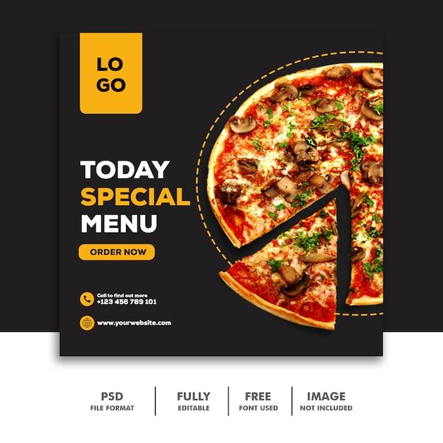 Социальные медиа баннер опубликовать шаблон еда специальное меню пицца Premium Psd