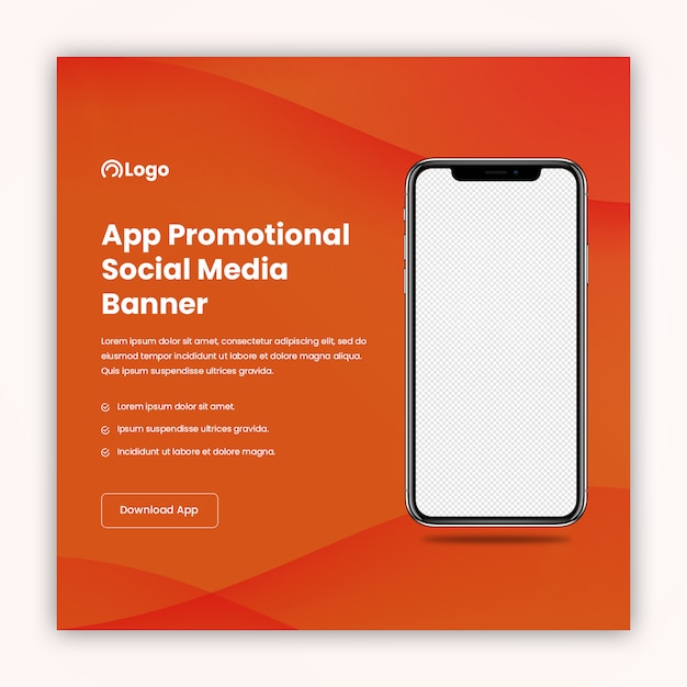 Social media banner template for app promotion and marketing Premium Psd