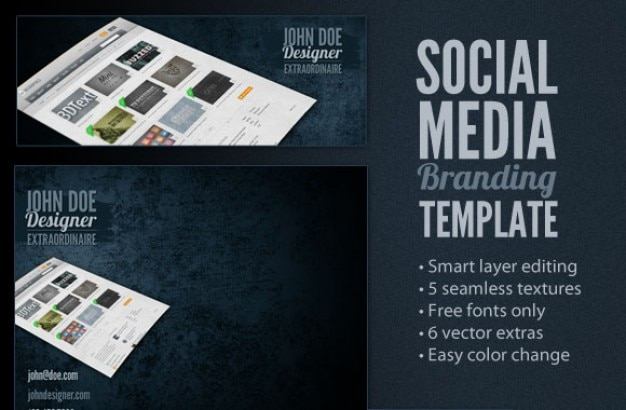 social media branding template psd file free download