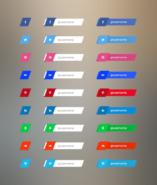 Social media button pack Premium Psd