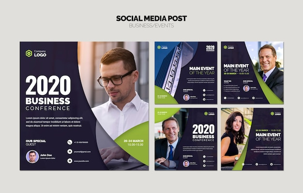 Social media collage of business templates Free Psd