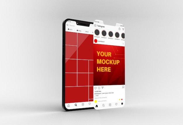 Social media feed and post on smartphone mockup Premium Psd