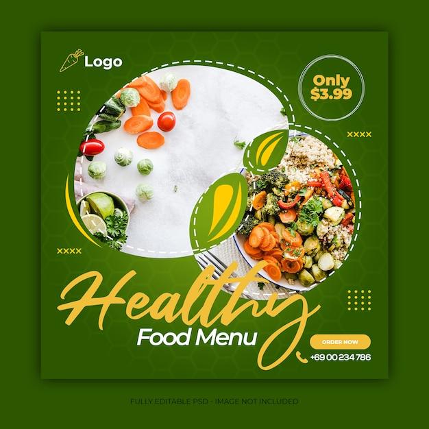Social media food banner ad design template Premium Psd